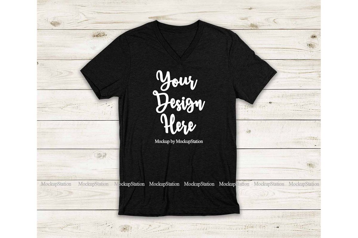 Black Heather Shirt Mockup, Bella Canvas 3005 V-Neck Tee Moc example image 1