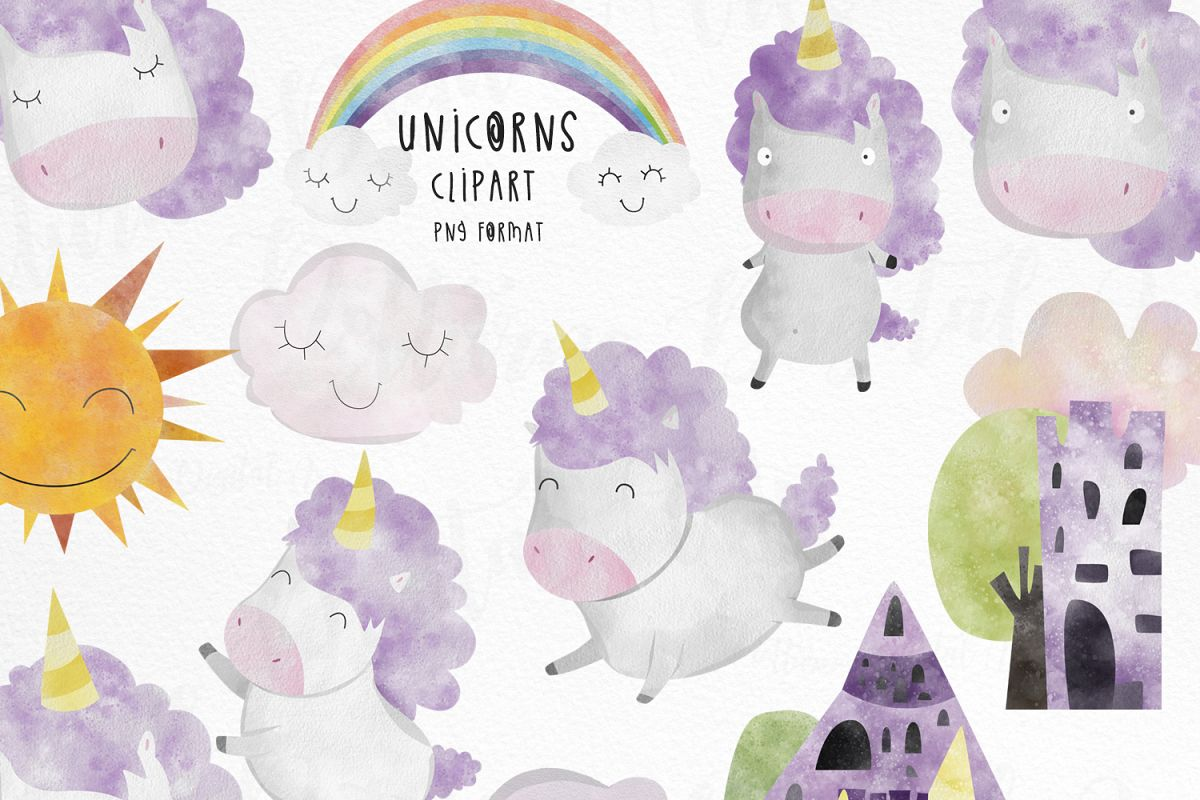 Watercolor Unicorn clipart commercial use. example image 1