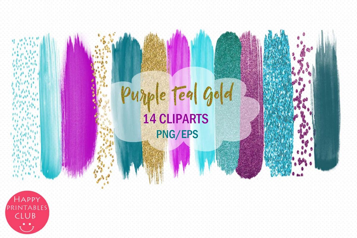 Purple Teal Gold Brush Strokes Clipart-Clipart Brush Stroke example image 1