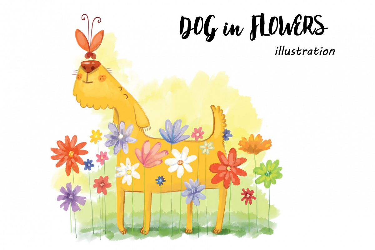 Dog in Flowers example image 1