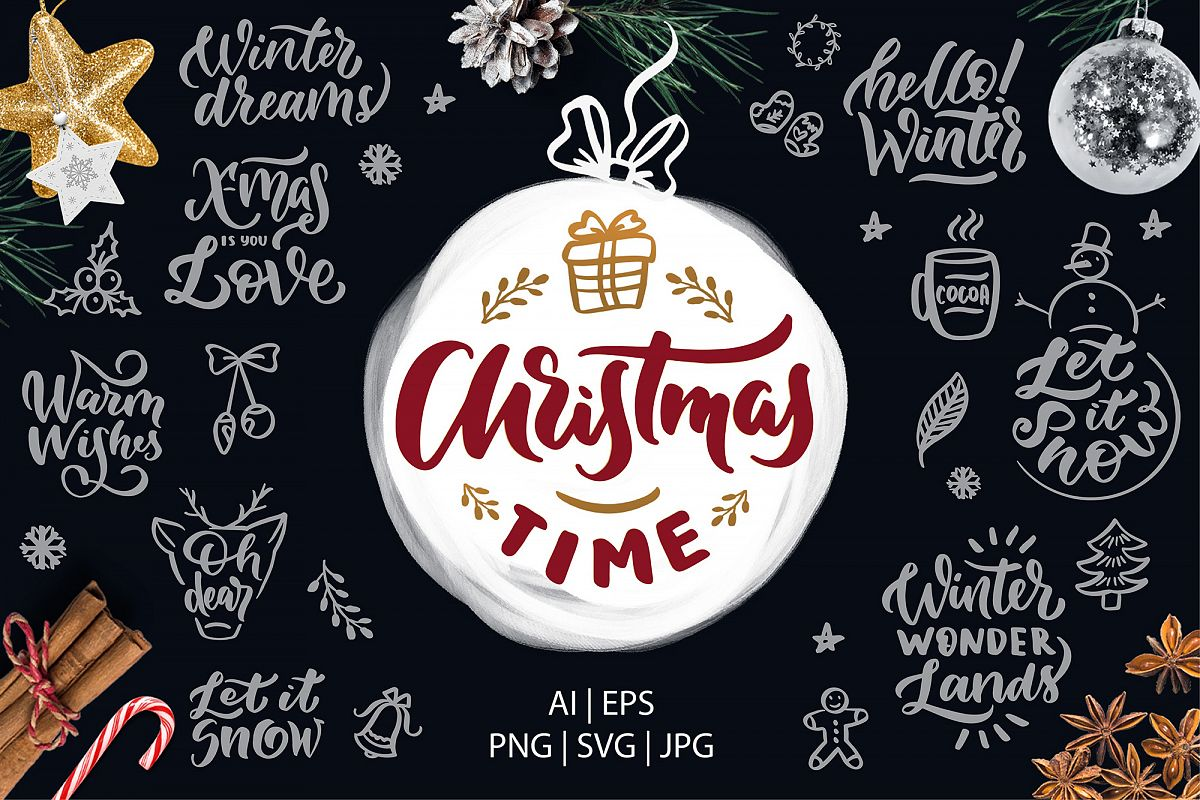 Christmas time lettering pack example image 1