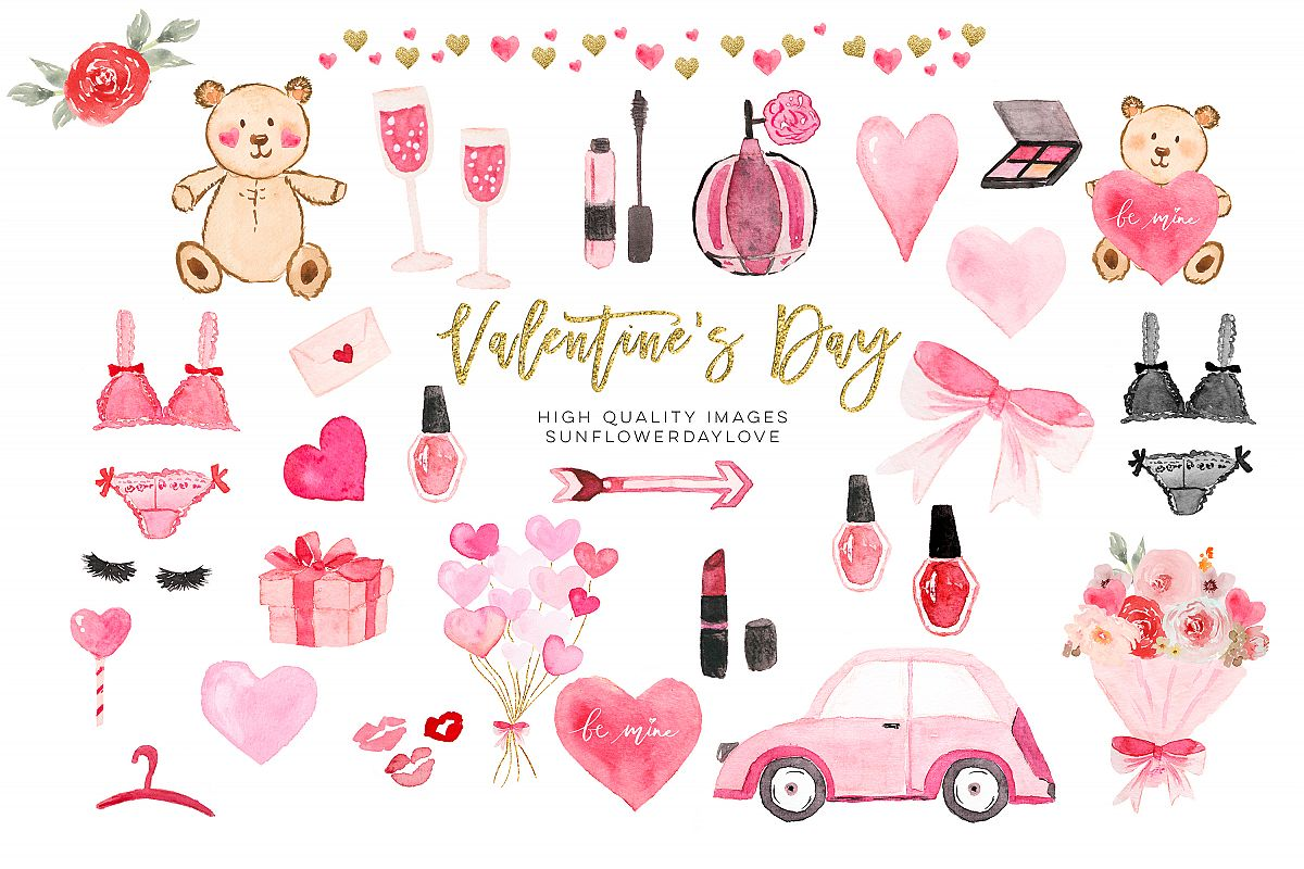 Valentines Day Planner Cliparts, Watercolor Heart Clipart example image 1