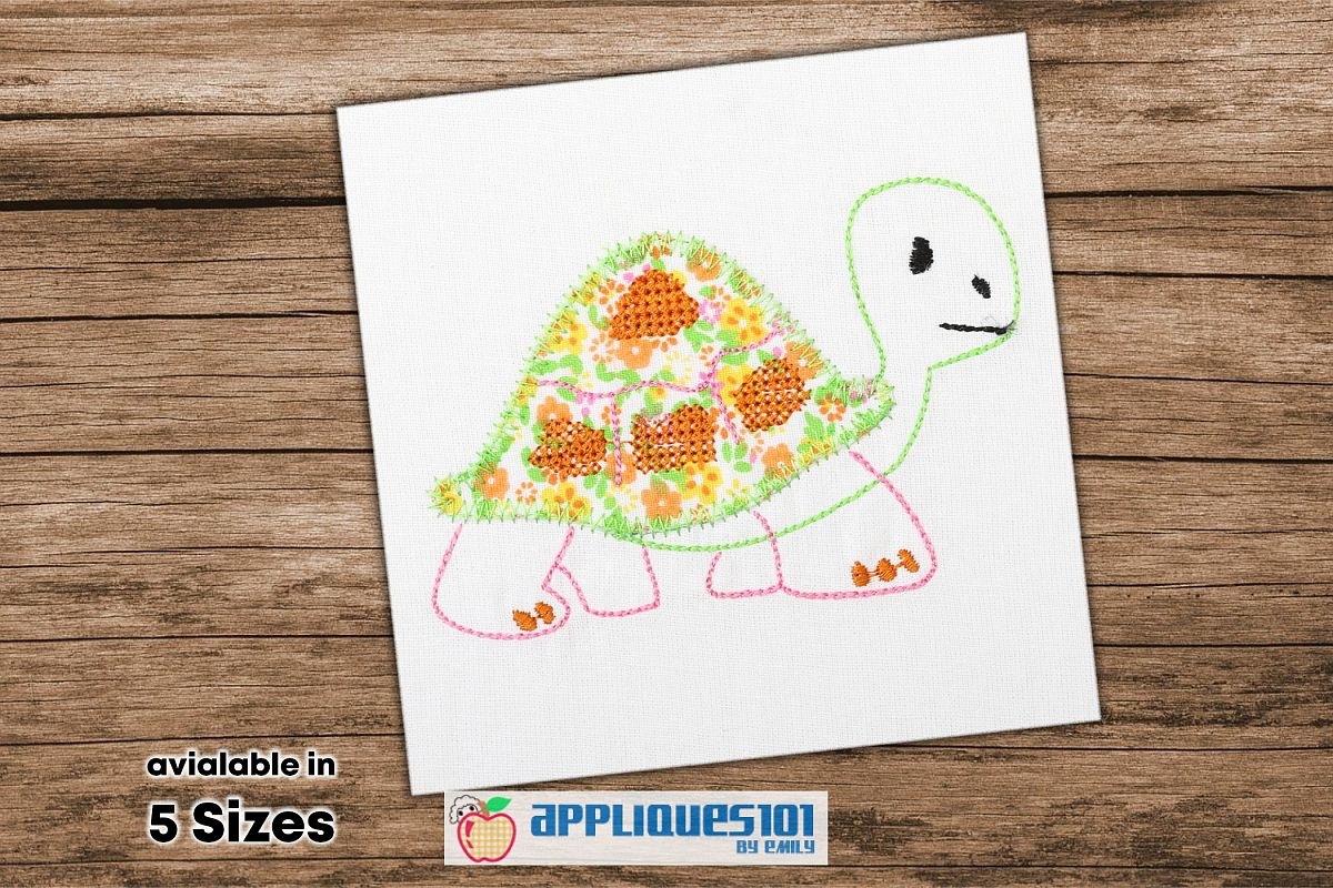 Cartoon Tortise Embroidery Applique Design - Turtles example image 1