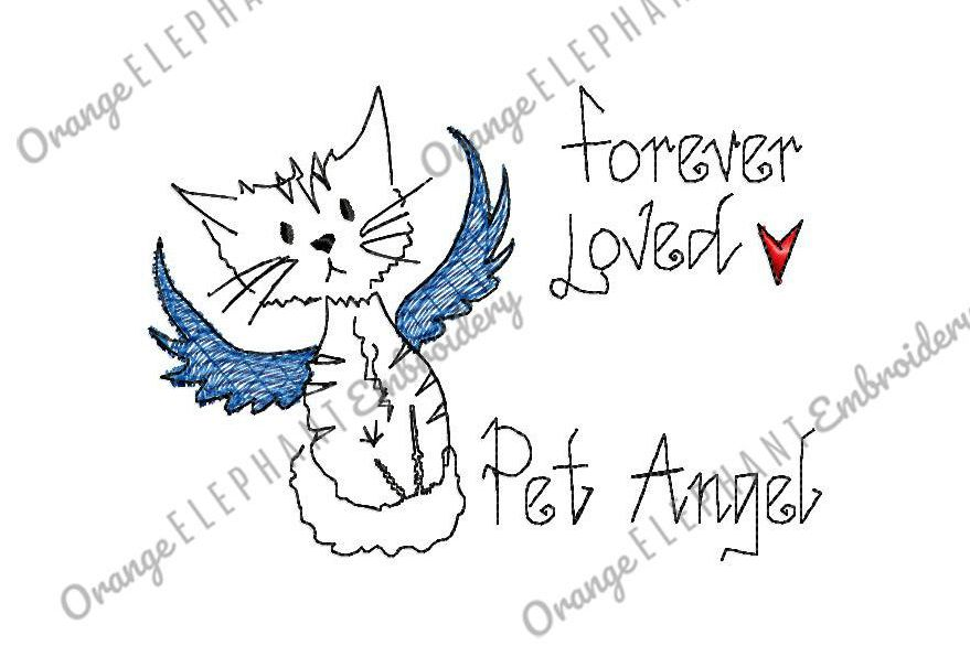 Hand Drawn Cat Pet Angel Unique Urban Machine Embroidery
