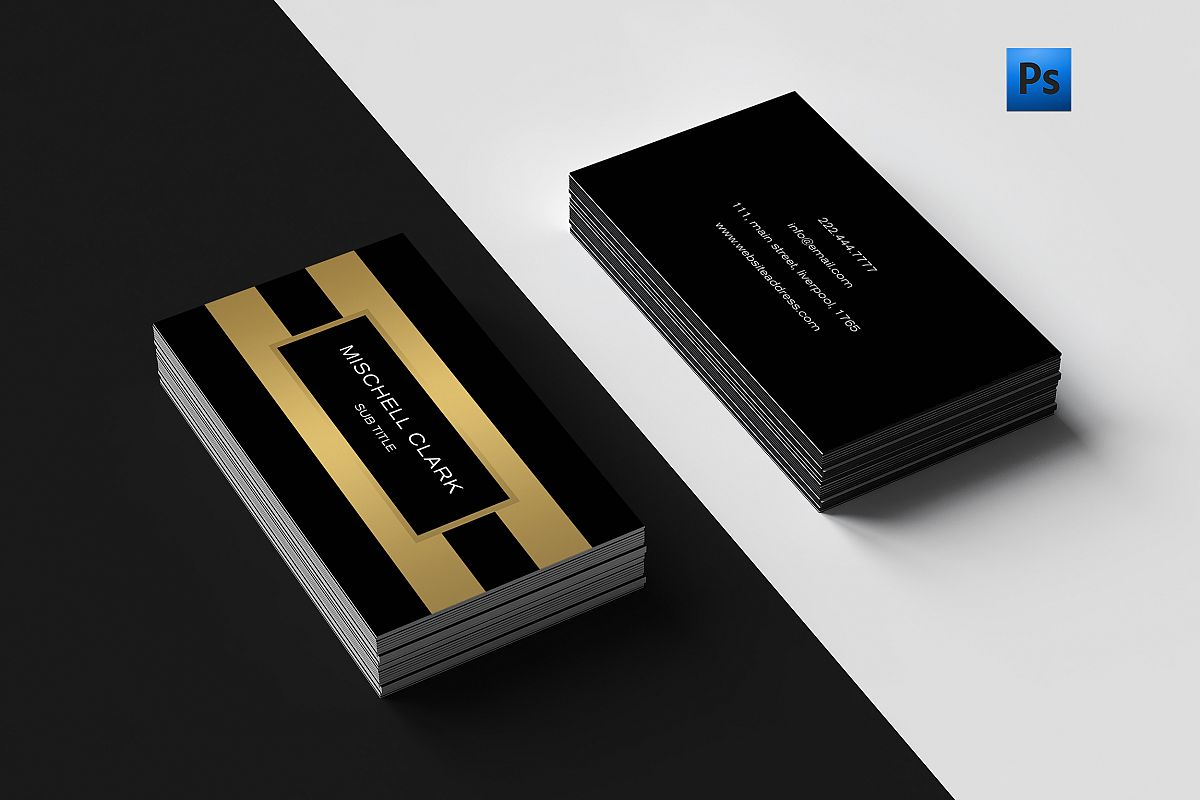 Golden metal finish business card  example image 1