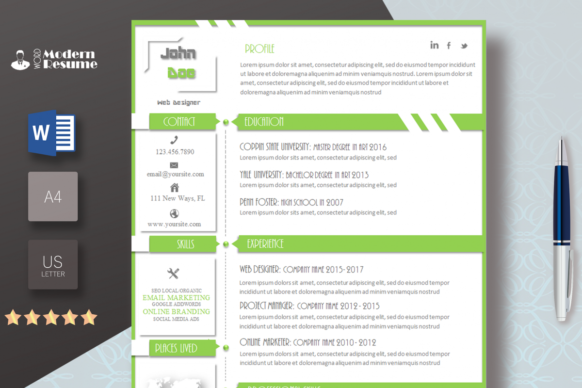 new resume template update resume cv design bundles