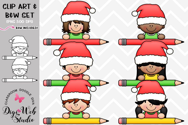 Clip Art / Illustrations - Santa Pencil Peeker Kids example image 1
