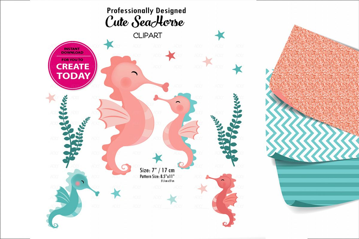 Little Baby Coral and Teal Seahorse Clip Art Design for DIY example image 1