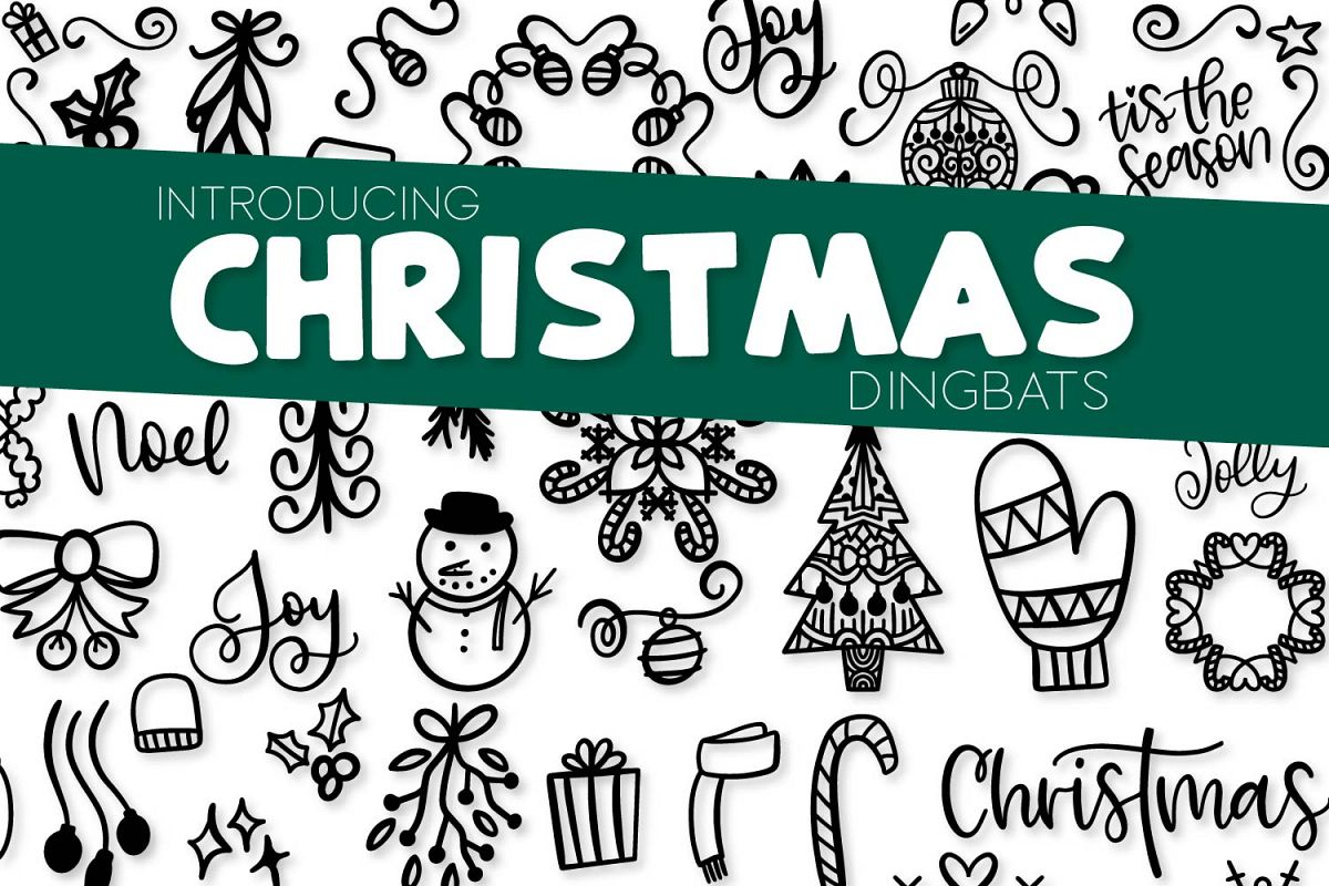 Christmas Dingbats - A Christmas Doodle Font! example image 1