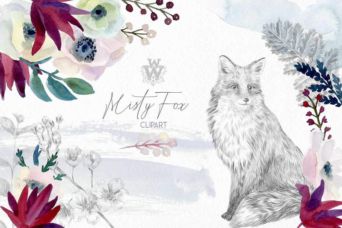 Watercolor forest flowers clipart, fox graphics wedding art example image 1