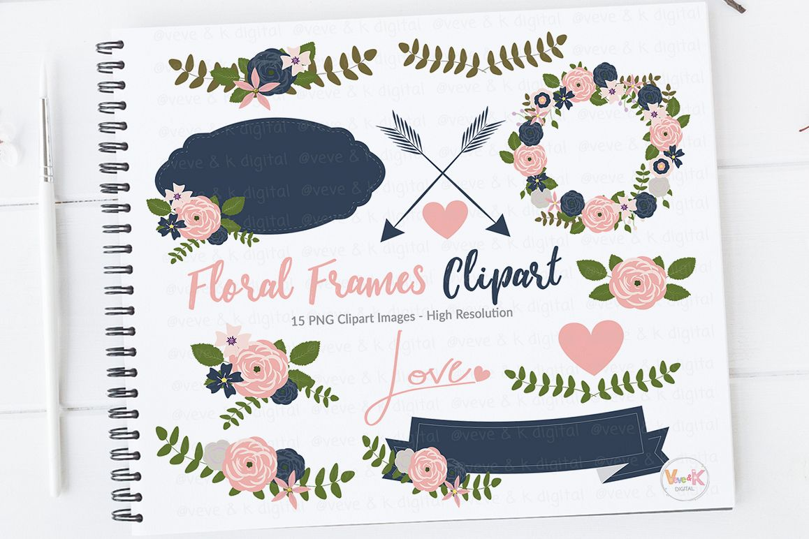 Floral Frames Clipart, Floral Bouquets Clipart, Frames Clipart Set, Navy and Pink Clipart, Navy and Pink, Digital Floral Elements, Wreath example image 1