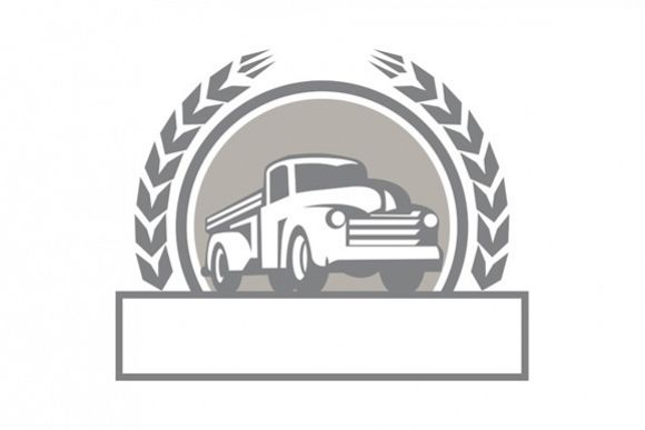 Vintage Pick Up Truck Circle Retro example image 1