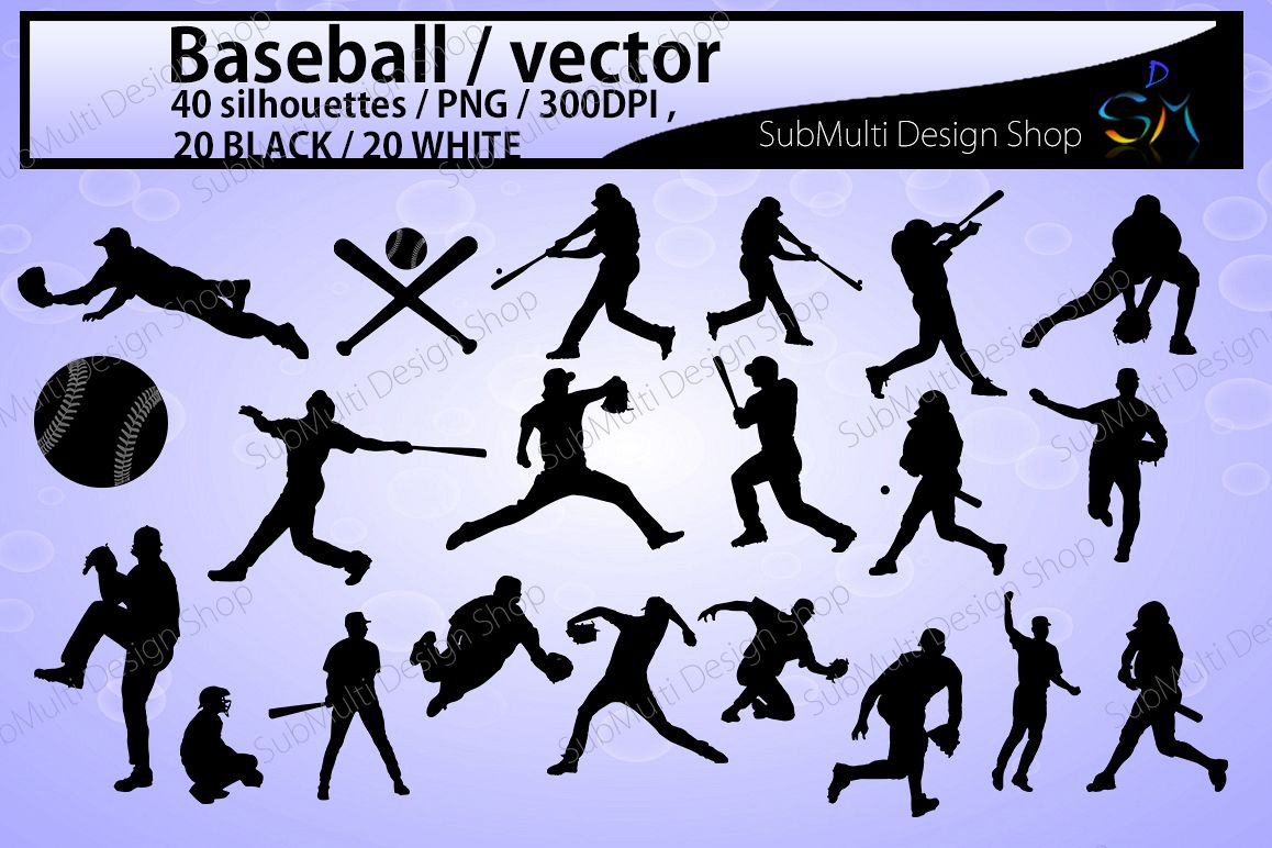 baseball svg / baseball silhouette / SVG / EPS / PNG / DXf / clipart / baseball players / vector file / base bat / digital / High Quality example image 1