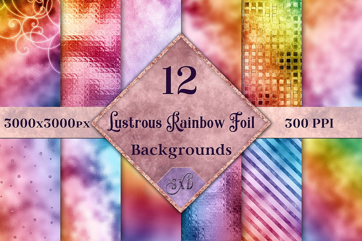 Lustrous Rainbow Foil Backgrounds - 12 Image Textures Set example image 1