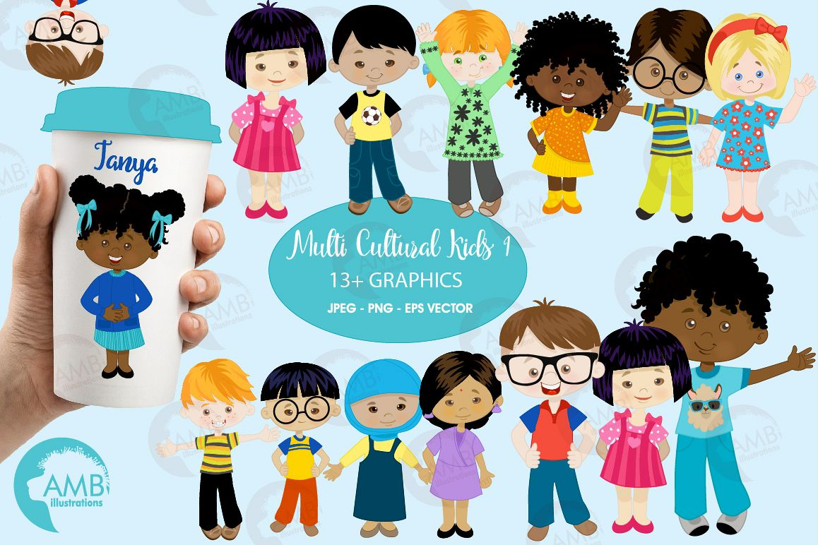 Multi-cultural kids series 1, clipart, graphics and illustrations AMB-2317 example image 1