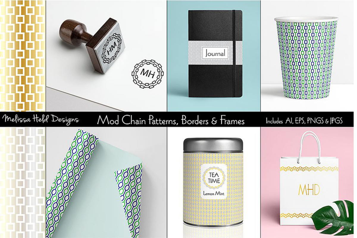 Mod Chain Patterns, Borders & Frames example image 1