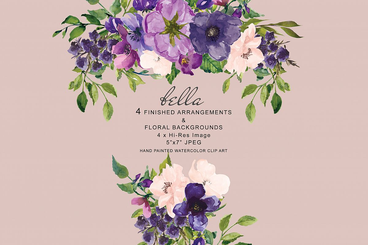 Watercolor Purple And Blush Pink Floral Arrangements Clipart
