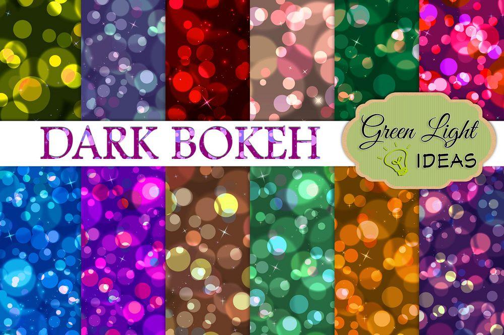 Dark Bokeh Digital Papers example image 1