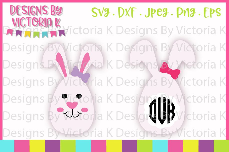 Easter Egg Bunnies, Easter Bunny, Girl Bunny, SVG, DXF, PNG example image 1