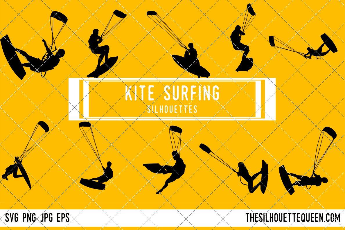 Kite Surfing Silhouette Clipart Vector Svg Png Eps Jpg
