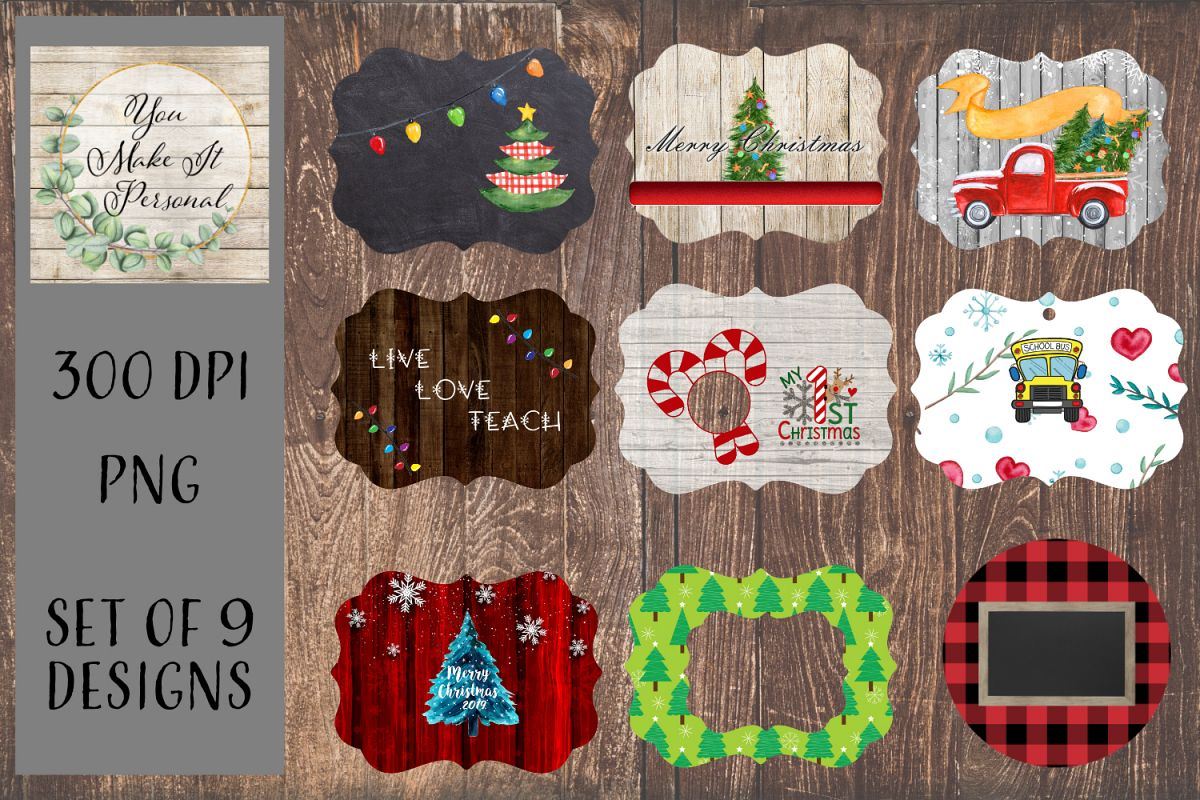 Christmas Ornament Bundle, Perfect for Sublimation example image 1