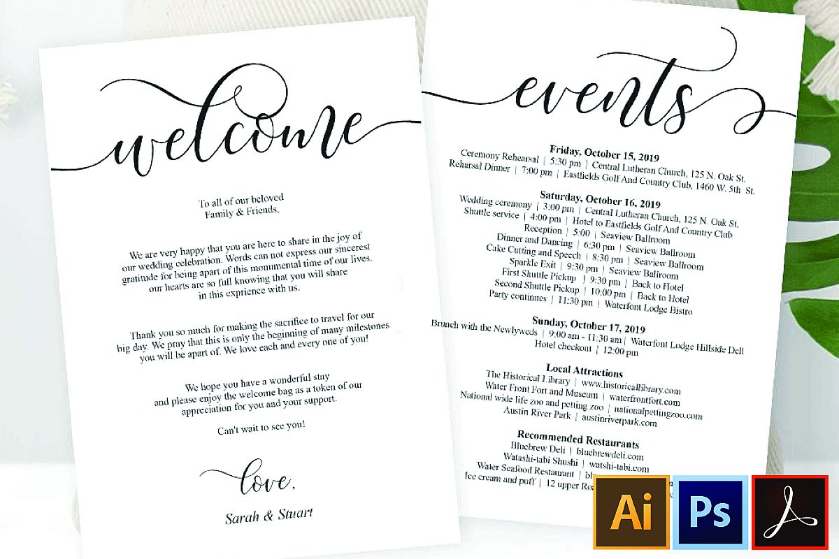 Wedding Welcome and Itinerary card, editable PDF template example image 1