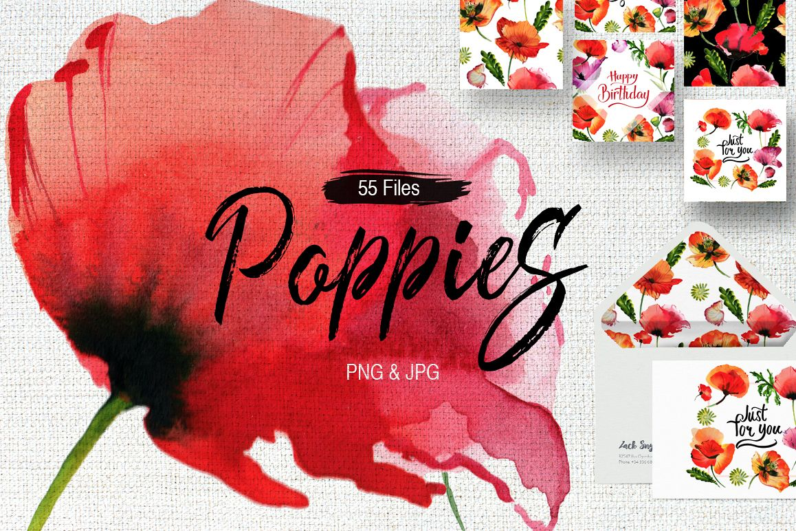 Poppy flowers PNG watercolor set example image 1