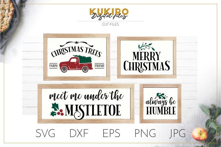 Christmas Signs SVG - Tree Truck, MIstletoe Cut files SVG example image 1