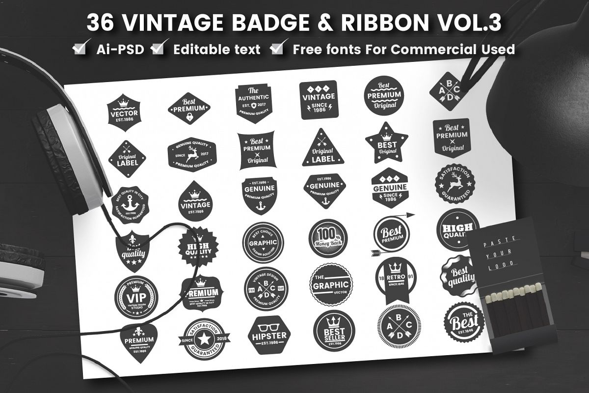 36 VINTAGE BADGE & RIBBON Vol.8 example image 1