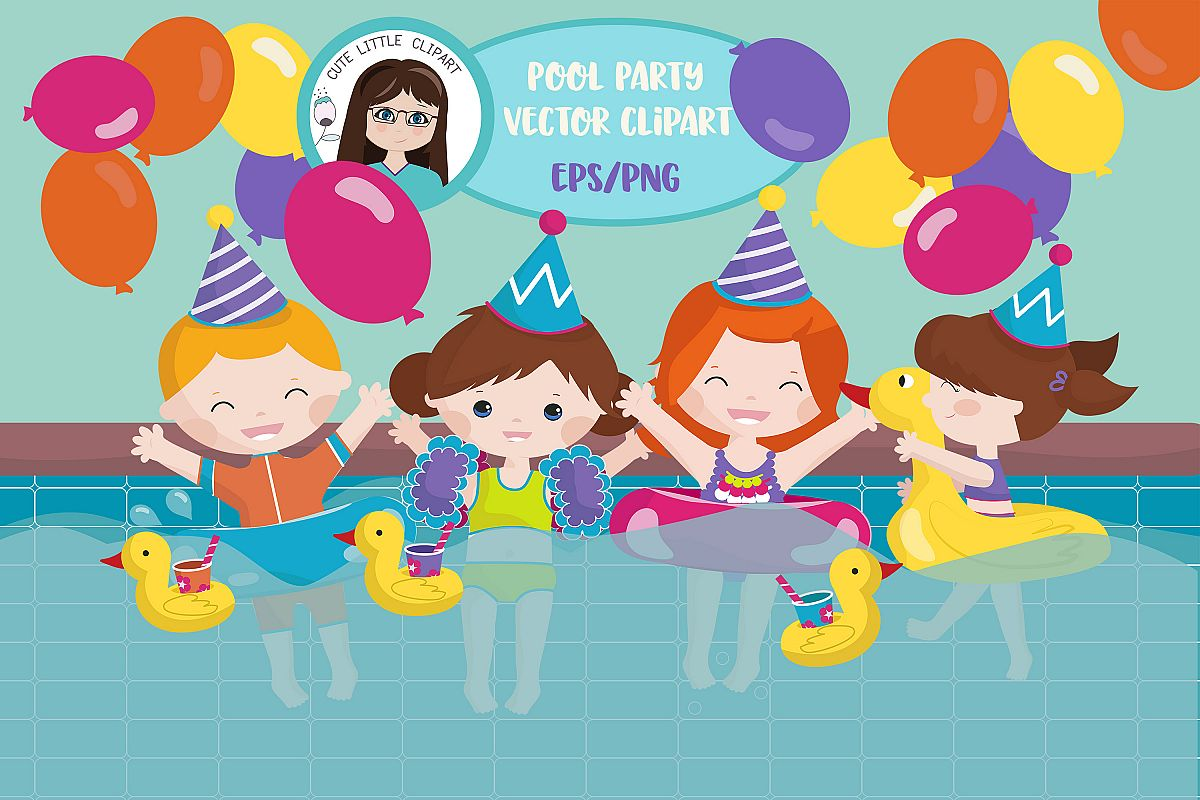 Pool party vector example image 1