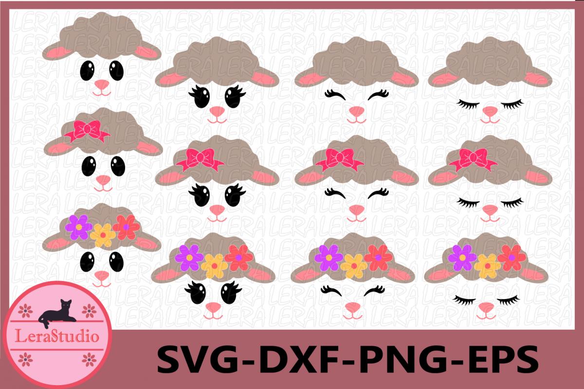 Lamb Face SVG, Animal face svg, Lamb Eyelashes Face, Lamb example image 1