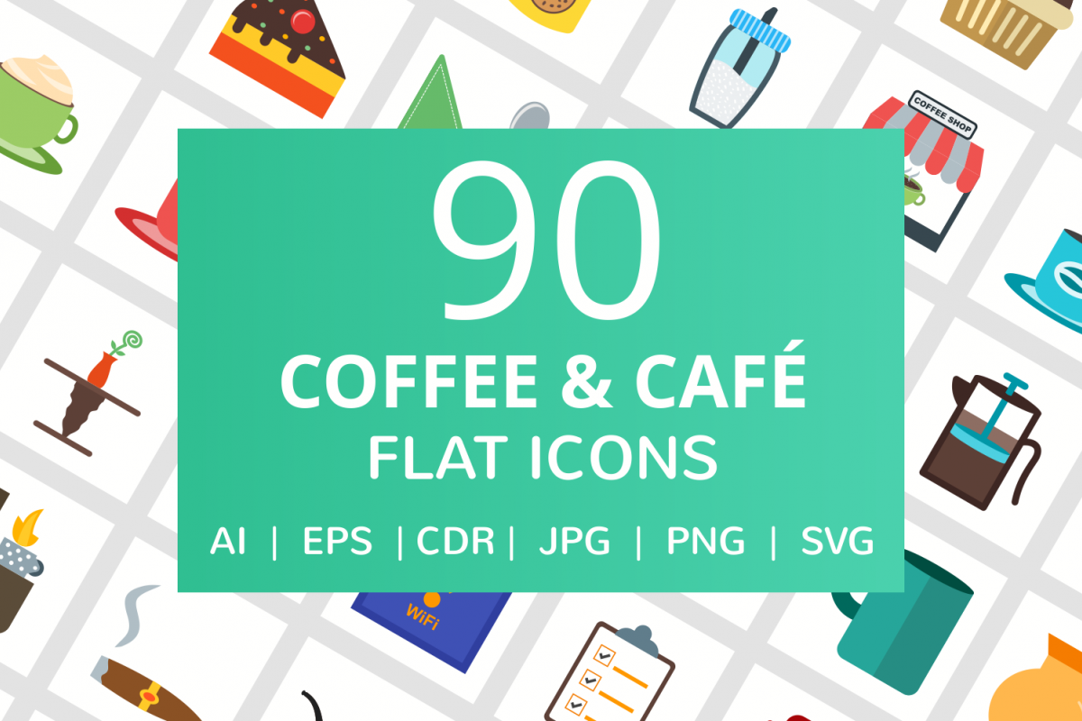 90 Coffee & Cafe Flat Icons example image 1