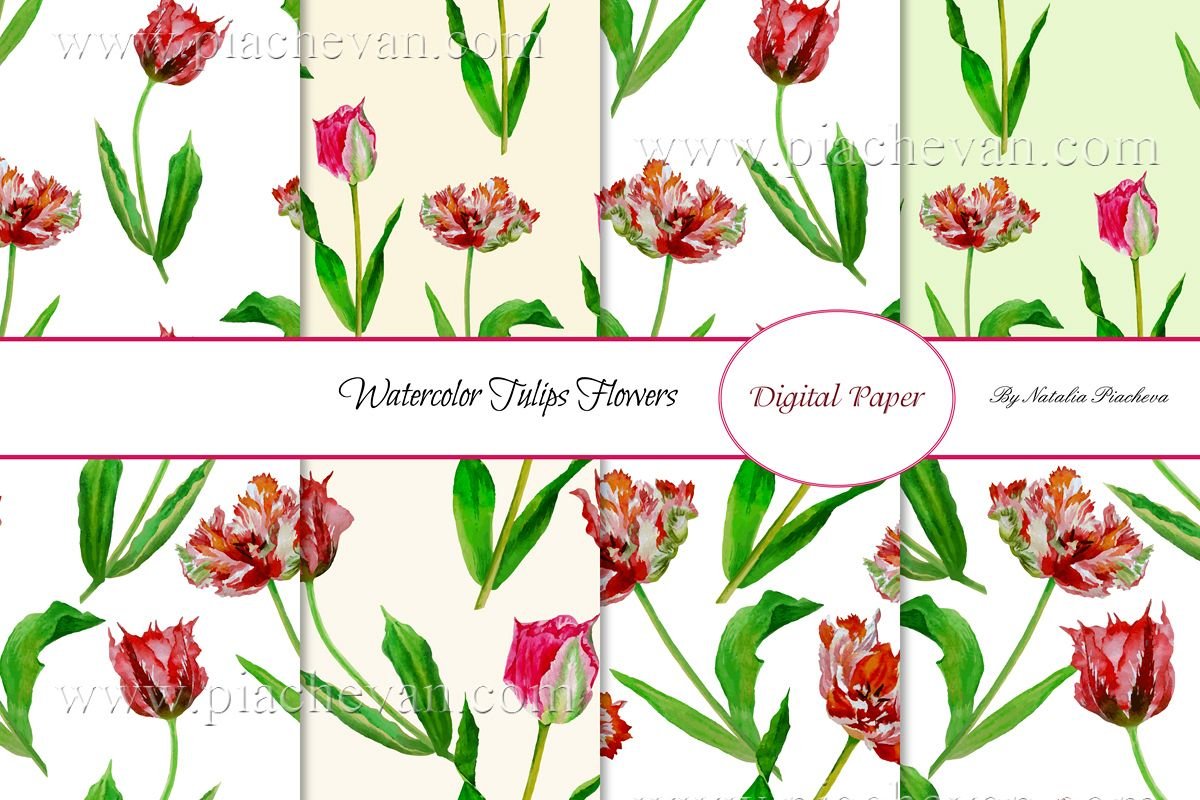 Spring Tulips. 8 Patterns example image 1