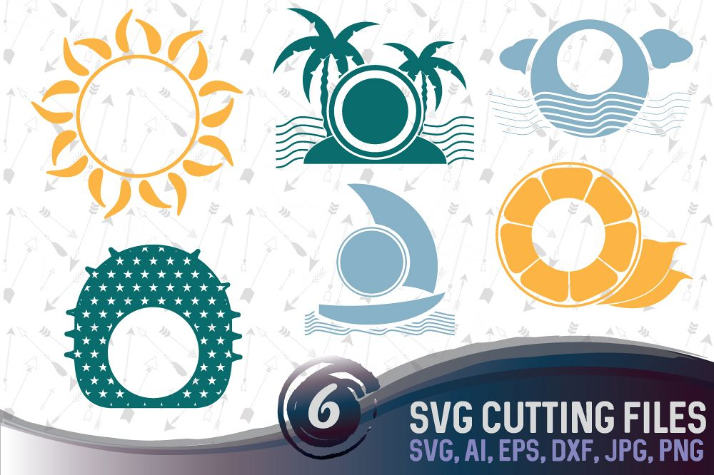 6 Summer vector designs and monogram templates - cutting files SVG, DXF, JPG, PNG, DWG, AI, EPS example image 1