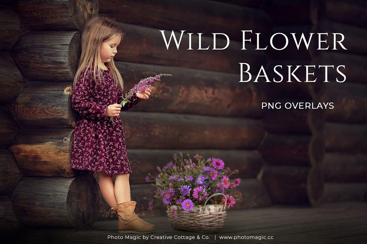 Fantasy Wild Flower Basket Photo Overlays example image 1
