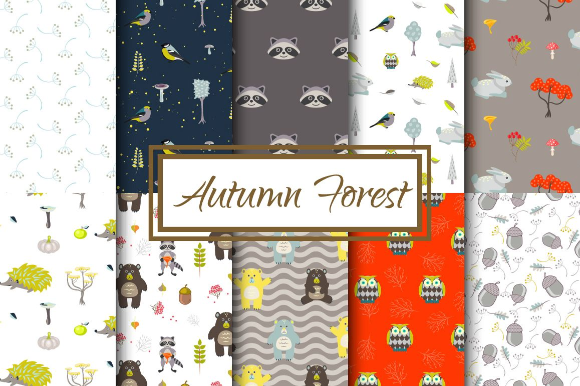 Autumn Forest Seamless Patterns example image 1