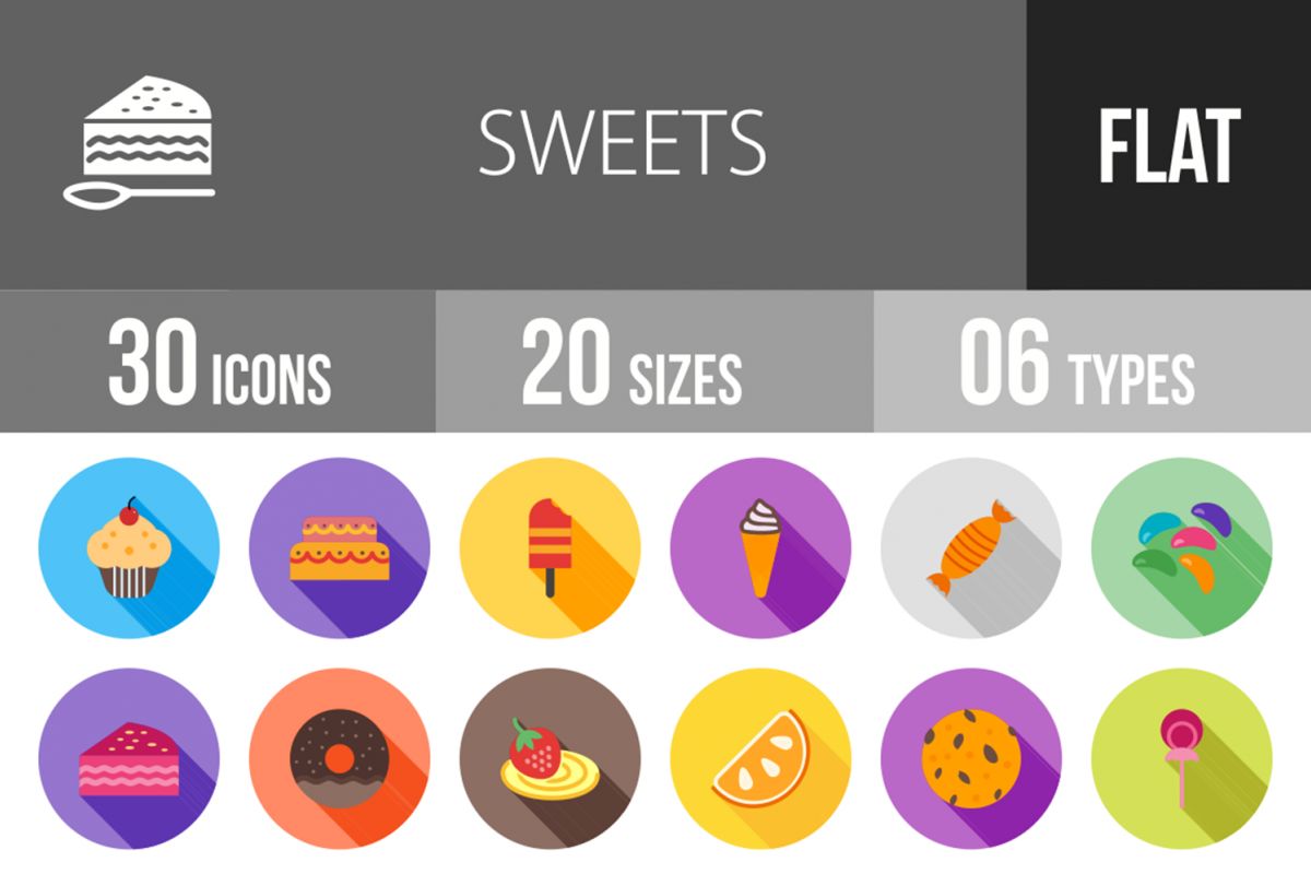 30 Sweets & Confectionery Flat Long Shadow Icons example image 1