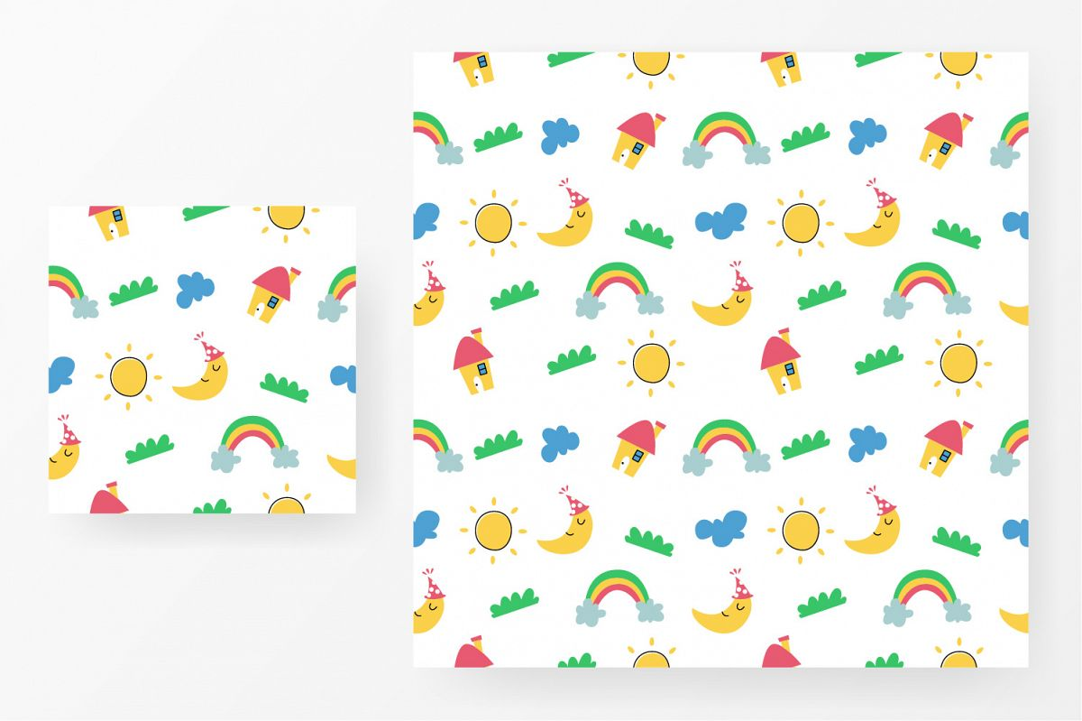 Seamless pattern house, rainbow, cloud, moon and sun example image 1
