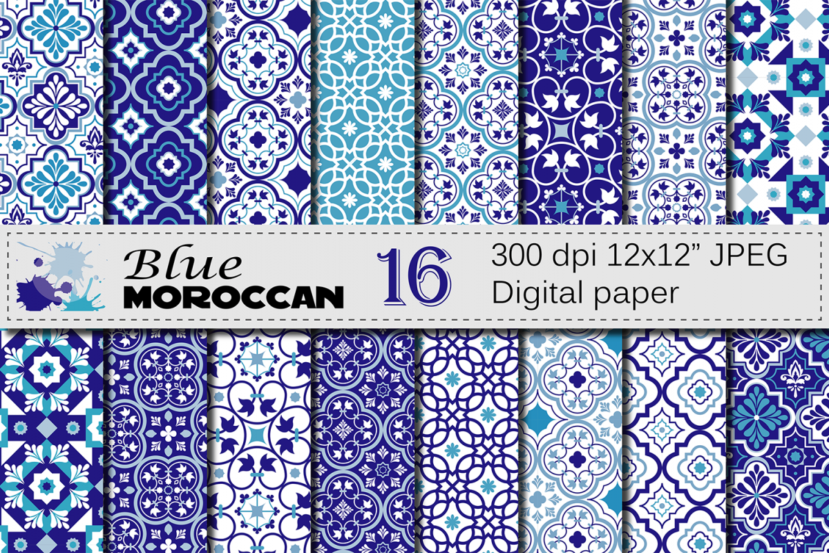 Blue Moroccan Digital Paper Pack / Blue Ethnic Tribal Geometric Ornamental Digital papers / Moroccan backgrounds / Scrapbooking Printable paper example image 1