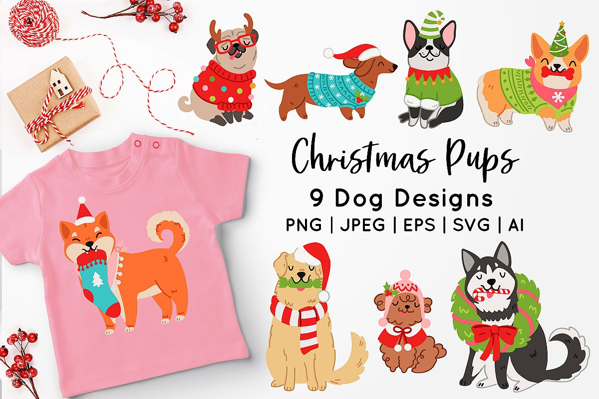 Christmas Dogs Vector Art example image 1