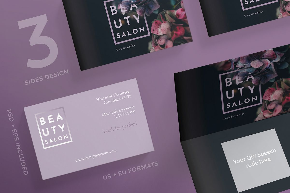 Beauty Salon Business Card Design Templates Kit example image 1