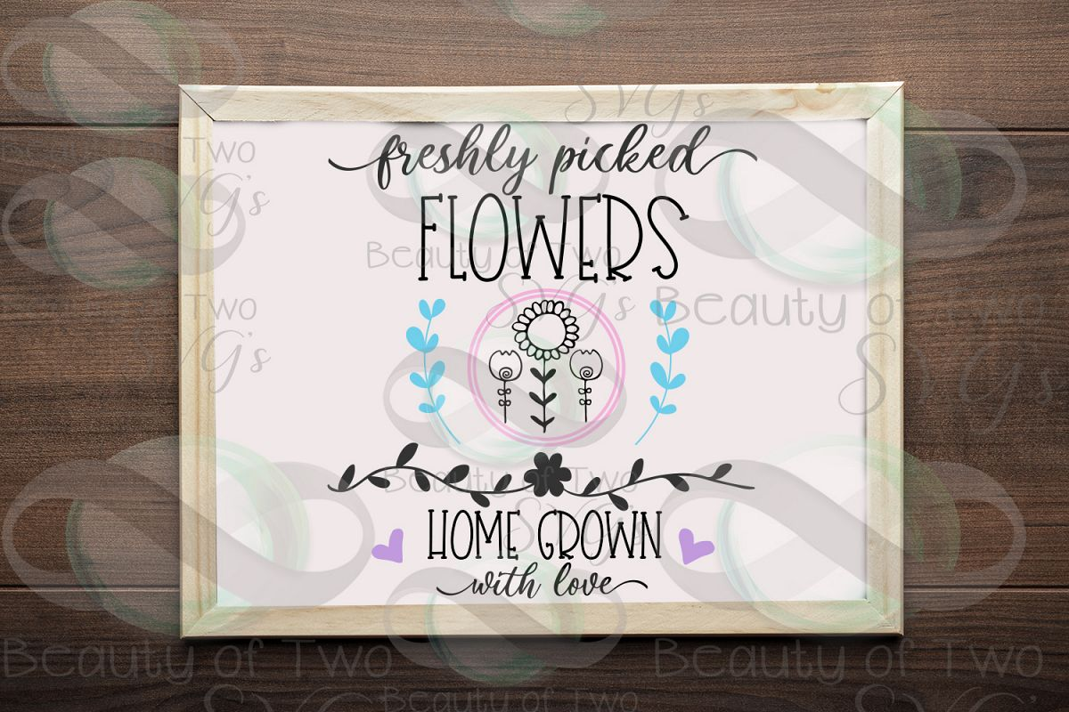 Spring Freshly picked flowers svg & png, Spring flowers svg example image 1