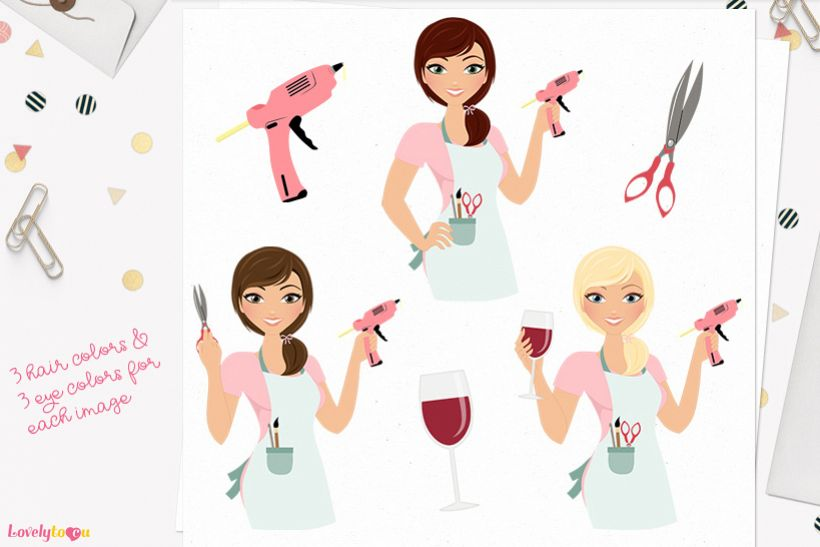 Woman crafts character clip art L165 Georgia example image 1