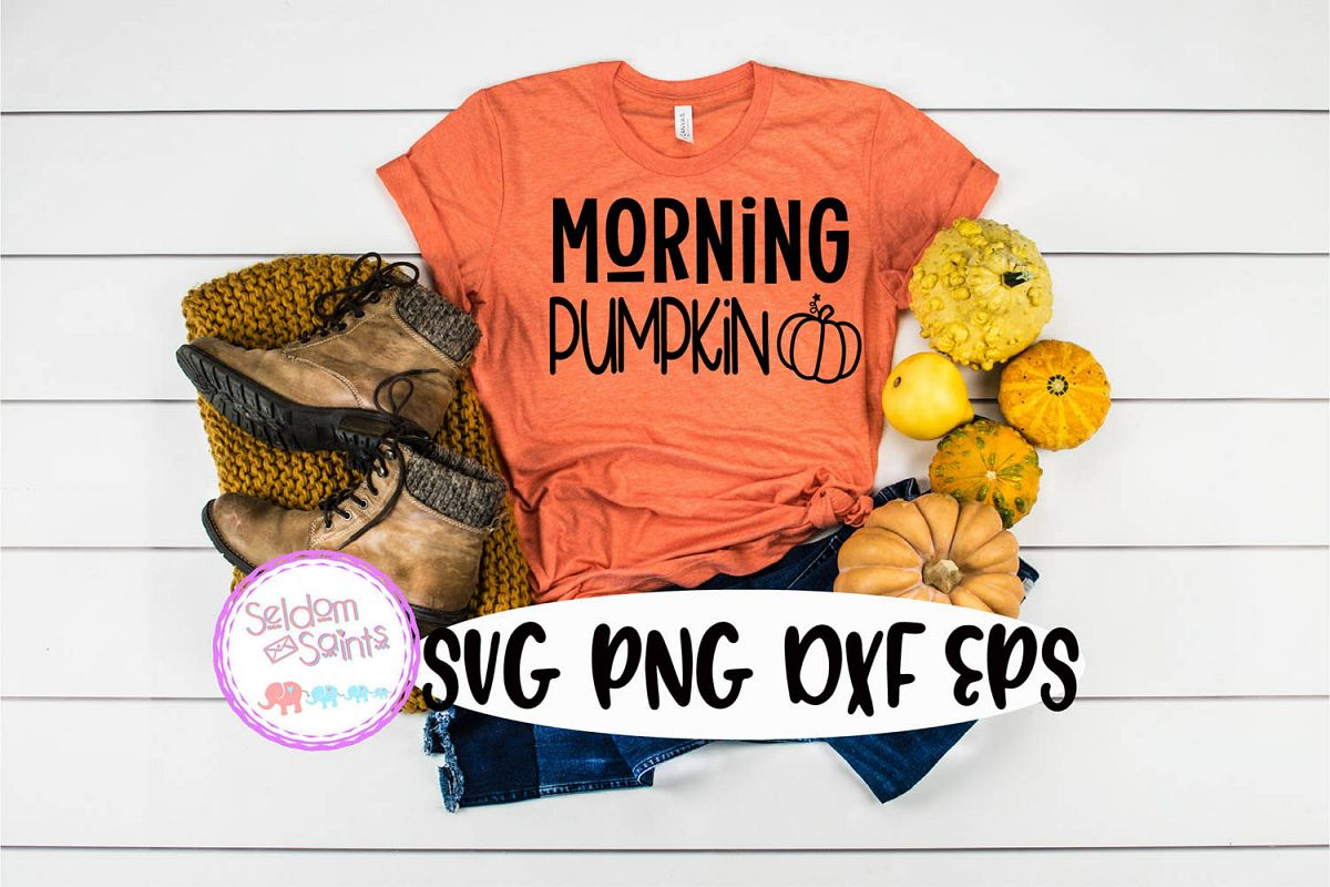 Morning Pumpkin SVG PNG DXF EPS Cricut Cut File example image 1