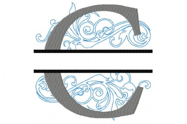 Embroidery Fonts Split Monogram, Monogram C, 4X4 5X7 6x10 example image 1