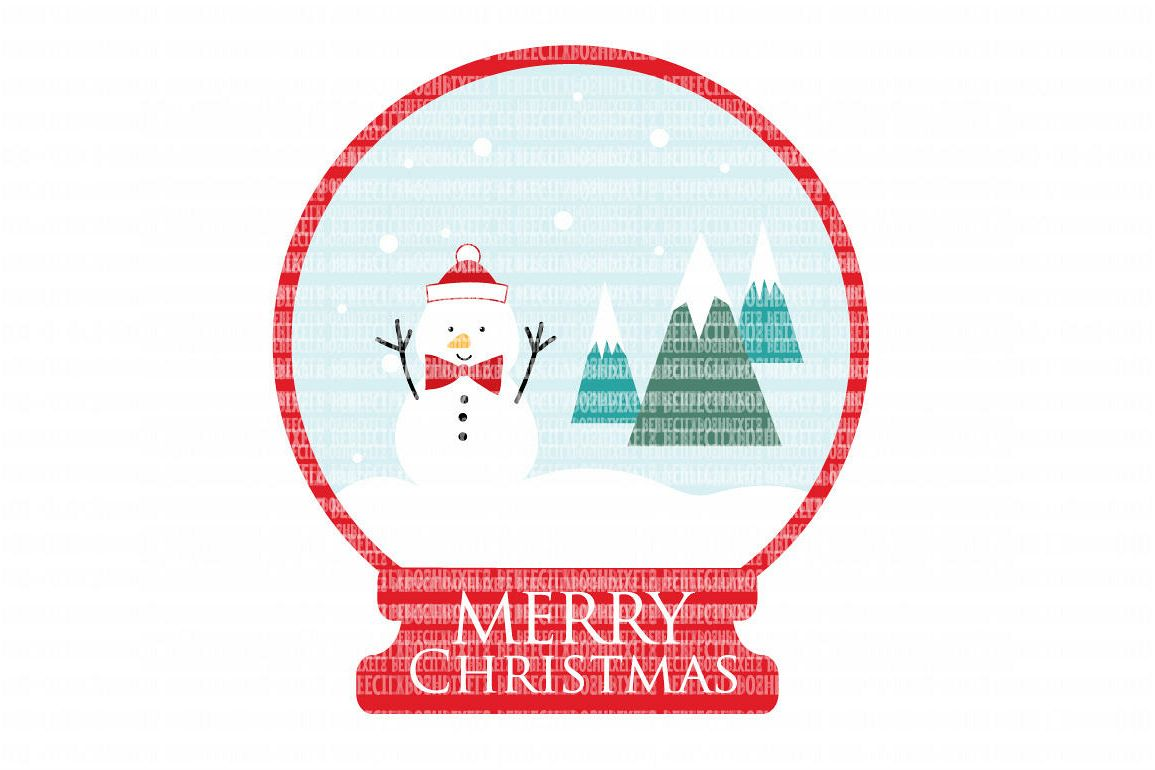 Christmas Snowglobe Snowman SVG Files Cut Files Heat Transfer Vinyl Scrapbooking Stencil EPS DXF Silhouette Cameo Cricut Commercial Use example image 1