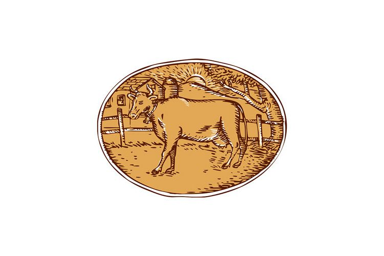 Cow Ranch Farm House Oval Woodcut example image 1
