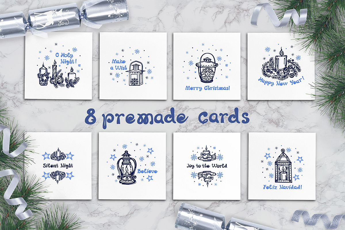8 premade cards with hand drawn candles and lanterns example image 1