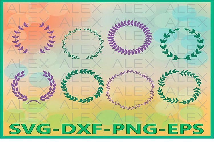 Wreath SVG, Laurel Wreath Monogram Frame Files svg example image 1