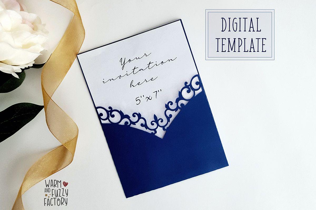 Wedding Invitation Pocket Envelope Template 5x7 cut file example image 1